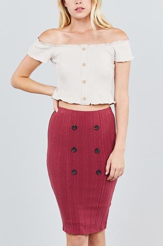 Button Detail Rib Midi Skirt