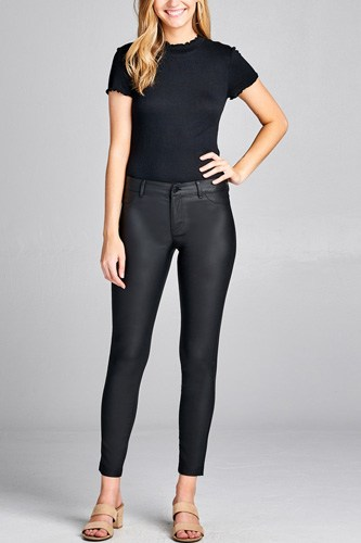 5 Pocket Shape Pu Long Pants
