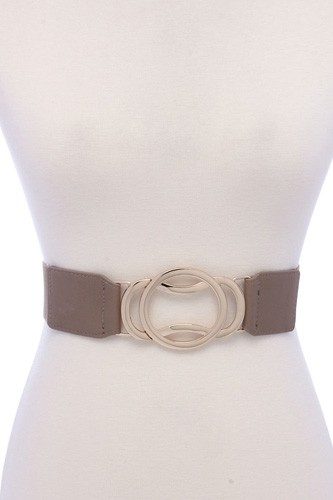Circle Metal Buckle Pu Leather Elastic Belt