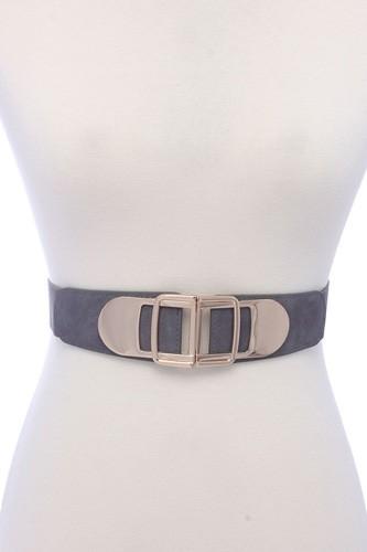 Metal Buckle Pu Leather Elastic Belt