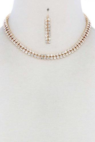 Double Line Rhinestone Necklace