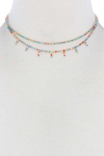 Layered Rhinestone Choker Necklace