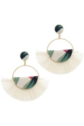 Fabric Half Circle Fan Tassel Post Drop Earring