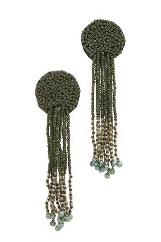 Circle Seed Bead Dangle Post Drop Earring