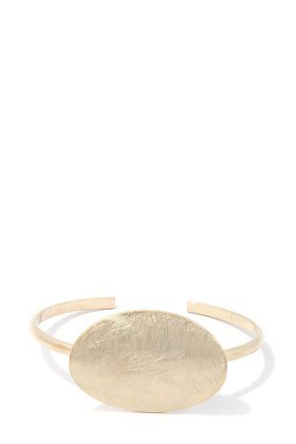 Brushed Oval Shape Cuff Bracelet