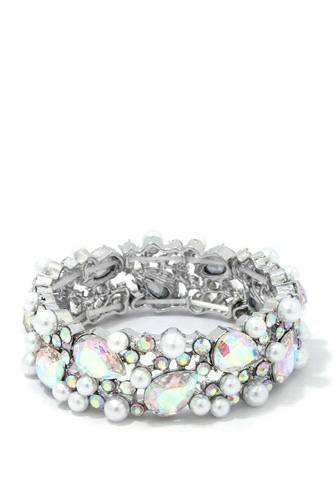 Pearl Teardrop Shape Rhinestone Stretch Bracelet