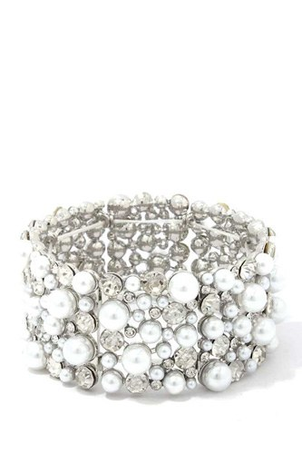 Chunky Pearl Rhinestone Stretch Bracelet
