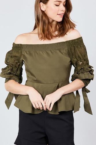 Bubble Sleeve W/bow Tie Off The Shoulder W/crochet Lace Cotton Woven Top