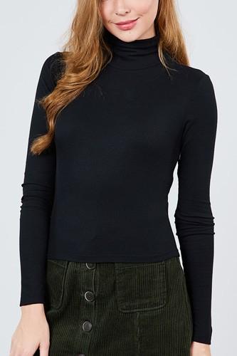 Long Sleeve Shirring Turtle Neck Rib Knit Top