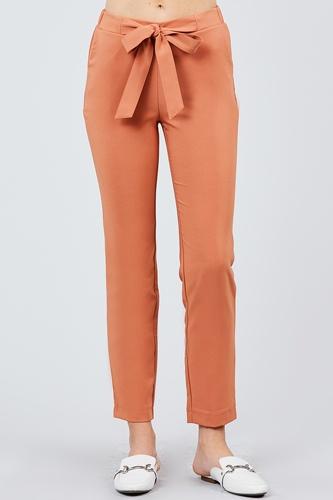 Front Ribbon Tied Pegged Long Pants