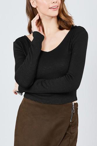Long Sleeve Double V-neck Rib Knit Top