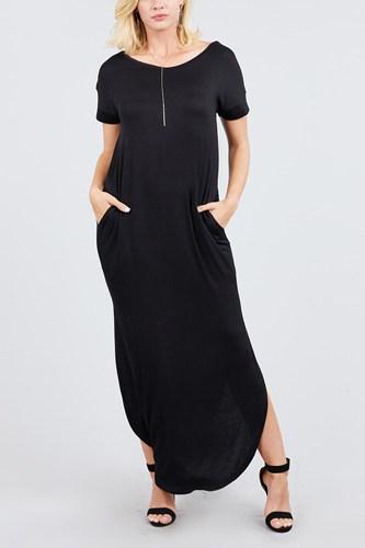 Short Dolman Sleeve Double V-neck W/side Pocket Rayon Spandex Side Slit Maxi Dress