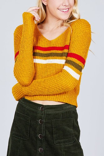 Long Sleeve V-neck Multi Stripe Crop Sweater