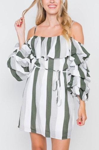 Puff-sleeve Stripe Cami Boho Dress