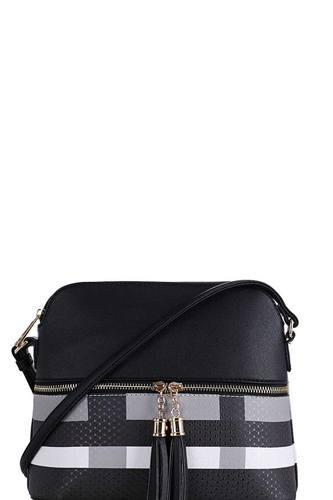 Chic Modern Color Block Tassel Cross Body Bag