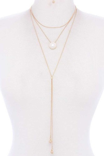 Metal Layered Y Shape Necklace
