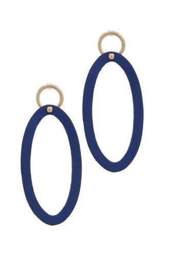 Oval Shape Circle Post Drop Earring