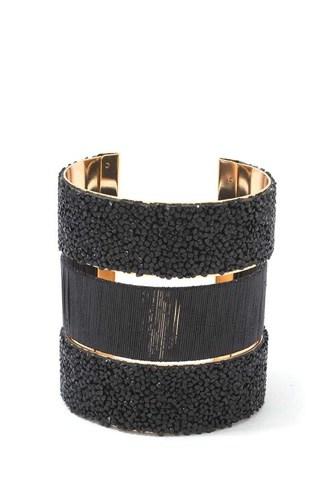Textured Beaded Cuff Bracelet