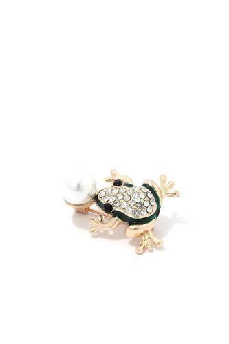 Rhinestone Frog Brooch