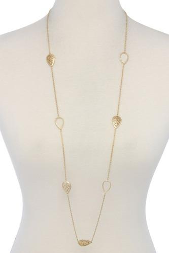 Filigree Tear Drop Shape Long Necklace