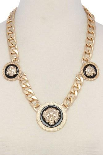 Lion Cuban Chain Short Necklace