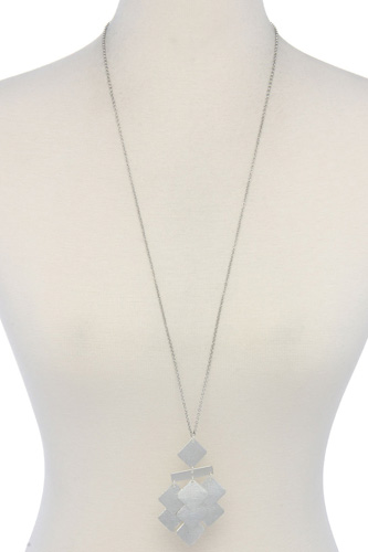 Geometric Shape Pendant Long Necklace