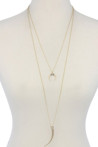 Hammered Tooth Pendant Multi Layered Necklace
