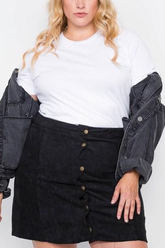 Plus Size Corduroy Scallop Front Mini Skirt