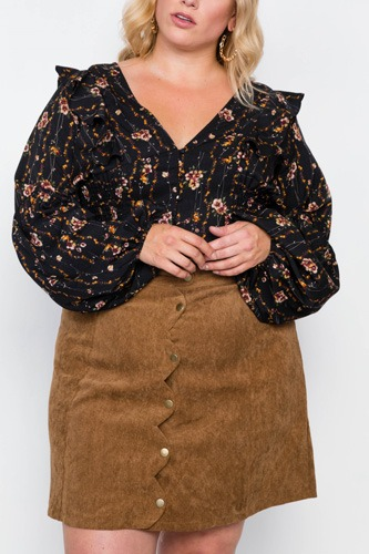 Plus Size Corduroy Scallop Front Mini Skirt