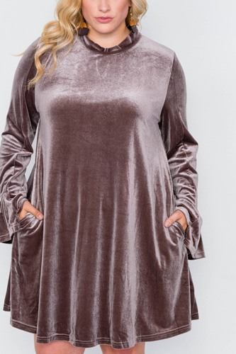 Plus Size Velvet Long Sleeve Mini Dress