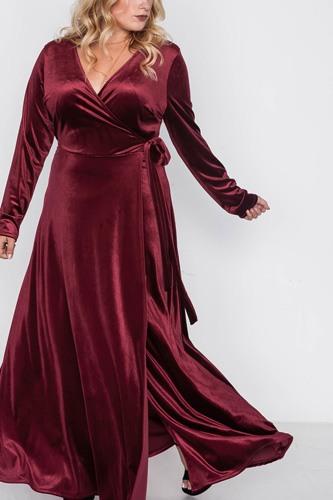 Plus Size Velvet Surplice Neck Maxi Dress