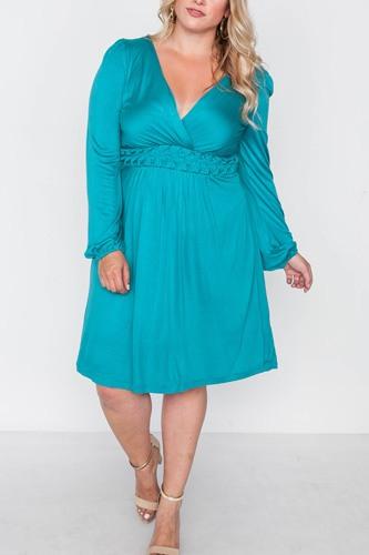 Plus Size Shoreline Turquoise Ling Sleeve Dress