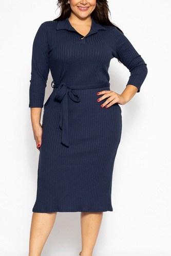 A Pleated Solid, Midi Tee Dress