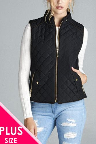Quilted Padding Vest With Suede Piping Details