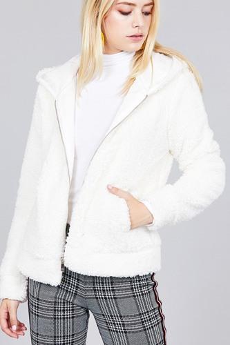 Hoodie Side Pocket Faux Fur Zip-up Jacket