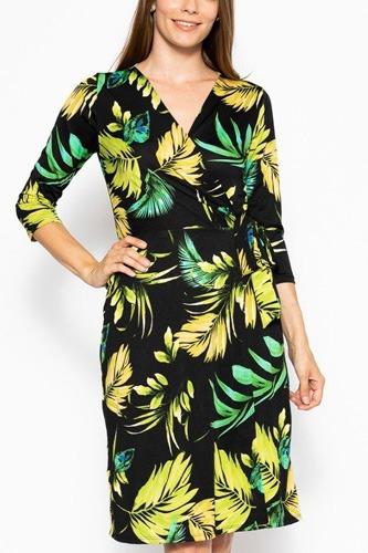 Belted Waist 3/4 Sleeve Dress