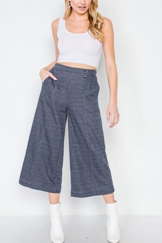 Knit Side Button Wide Leg Ankle Pants