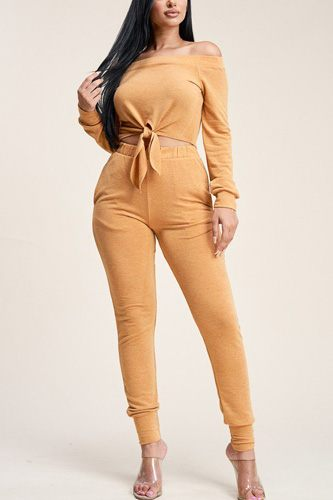 Solid French Terry Top And Pants Two Piece Set
