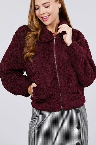 Long Sleeve Pouch Pocket W/collar Faux Fur Jacket