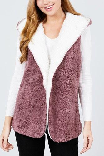 Open Front W/hoodie Faux Fur Reversible Vest