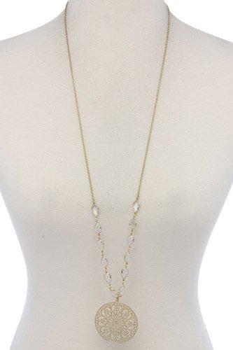 Filigree Circle Teardrop Shape Necklace