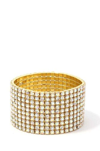 10 Layered Rhinestone Stretch Bracelet