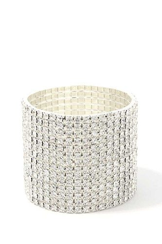 14 Layered Rhinestone Stretch Bracelet