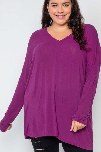 Plus Size Basic Over Sized Long Sleeve Top