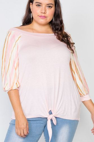 Plus Size Pink Scoop-neck 3/4 Sleeve Top
