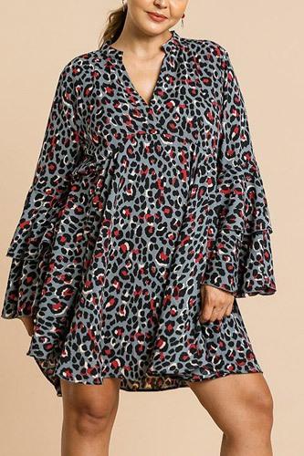 Animal Print Oversize Bell Sleeve V-neck Dress
