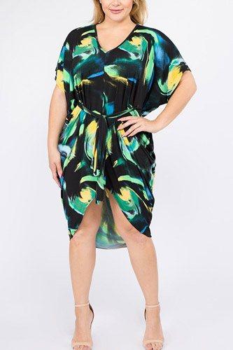 Multi Color Print Short Sleeve Kimono Dress With Waist Tie