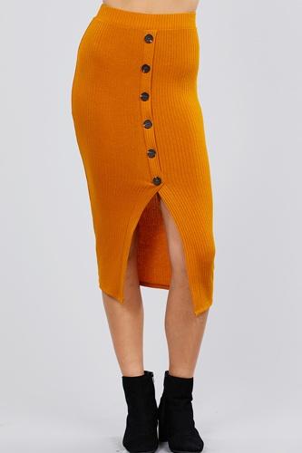 Front Button Detail Rib Midi Skirt