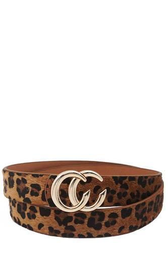 Fashion Trendy Leopard Fur Buckle Belt