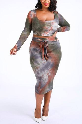 Tie Dye Top & Midi Skirt Set